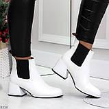 Роскошные светлые светлые молочные женские ботинки ботильоны на удобном каблуке, фото 9