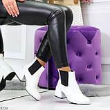 Роскошные светлые светлые молочные женские ботинки ботильоны на удобном каблуке, фото 10