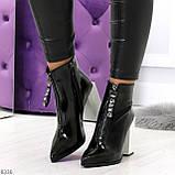 Люксовые черные лаковые женские ботинки ботильоны на фигурном белом каблуке, фото 10