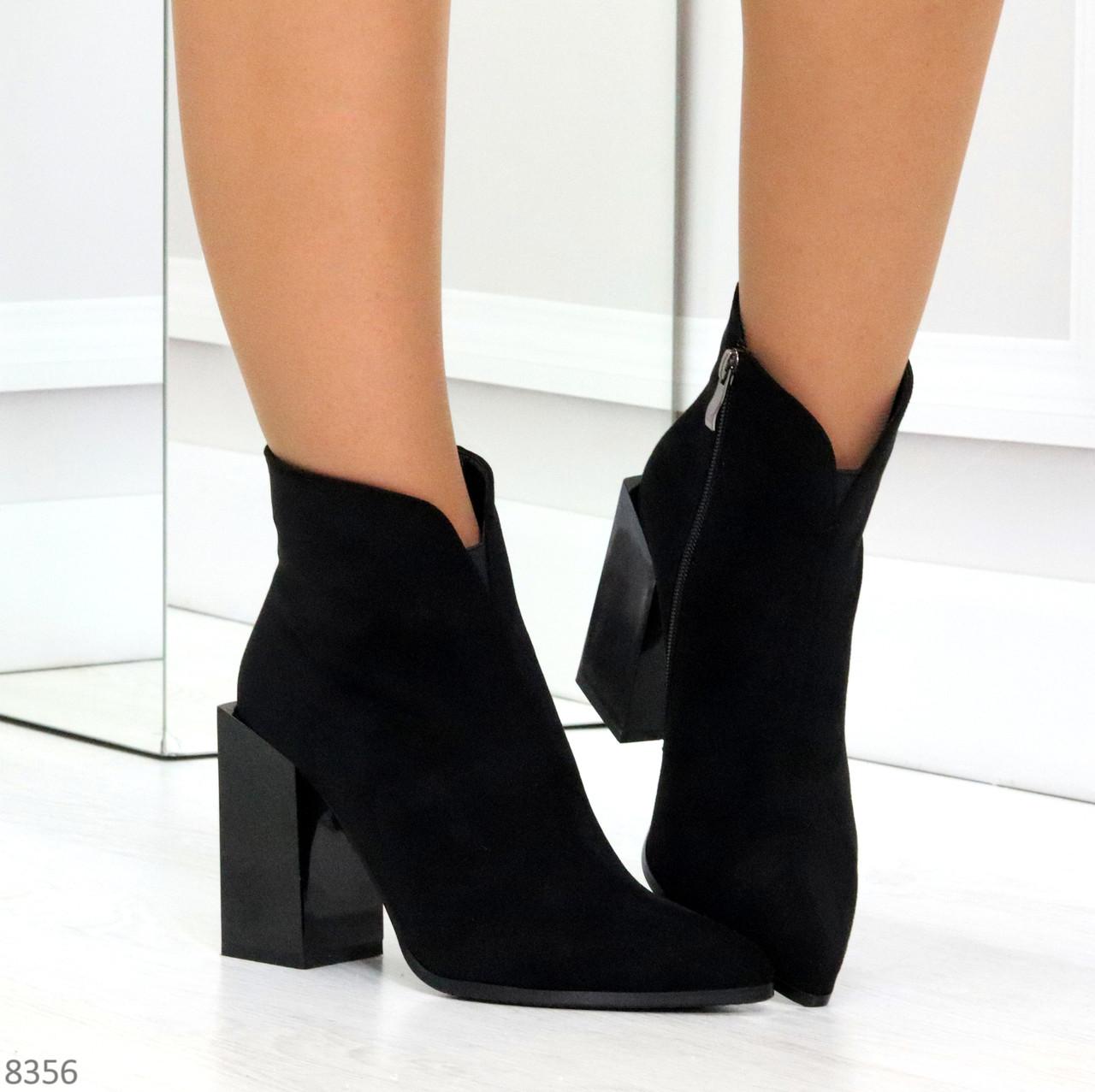 Шикарные замшевые черные женские ботинки ботильоны на фигурном каблуке
