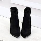 Шикарные замшевые черные женские ботинки ботильоны на фигурном каблуке, фото 2