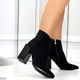 Шикарные замшевые черные женские ботинки ботильоны на фигурном каблуке, фото 3