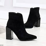 Шикарные замшевые черные женские ботинки ботильоны на фигурном каблуке, фото 6