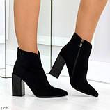Шикарные замшевые черные женские ботинки ботильоны на фигурном каблуке, фото 9