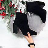 Шикарные замшевые черные женские ботинки ботильоны на фигурном каблуке, фото 10
