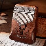 Калимба музыкальный инструмент на 17 язычков (премиум качество) - орнамент Коричневый, фото 3