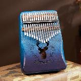 Калимба музыкальный инструмент на 17 язычков (премиум качество) - орнамент Коричневый, фото 4