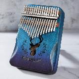Калимба музыкальный инструмент на 17 язычков (премиум качество) - орнамент Коричневый, фото 5