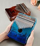 Калимба музыкальный инструмент на 17 язычков (премиум качество) - орнамент Коричневый, фото 7