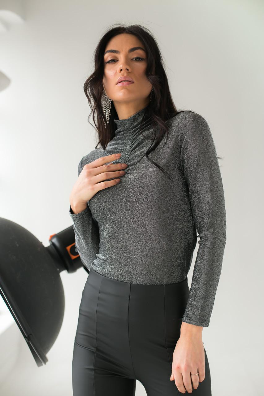 Нарядный гольф из люрекса LUREX - серебряный цвет, L (есть размеры)