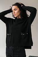 Классический джемпер с карманами украшенными набивным кружевом камнями и жемчугом P-M - черный цвет, XL/XXL, фото 1