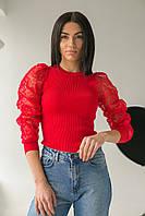 Облегающий джемпер лапша с фатиновыми рукавами  Lovie Look - красный цвет, S (есть размеры), фото 1