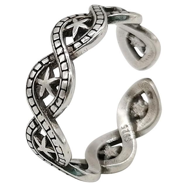 Срібне Кільце Жіноче City-A Кільце з Зірками зі Срібла 925 Регульоване Безрозмірне №3014