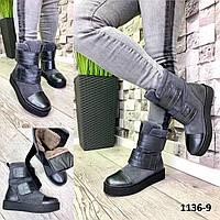 Ботинки женские зимние замшевые серые на липучках, фото 1