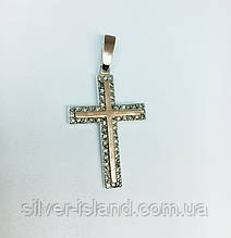Декоративный серебряный крестик с золотом и цирконом