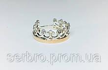 Серебряное кольцо с цирконом и золотом Корона