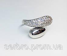 Стильное серебряное кольцо с цирконом Завиток