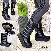 Дутики женские зима кожаные черные, фото 1