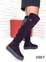 Ботфорты женские зимние замшевые сливовые на платформе, фото 1
