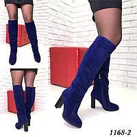 Ботфорты женские зимние замшевые синие на каблуке, фото 1