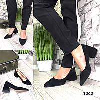 Туфли женские замшевые черные на каблуке остроносые лодочки, фото 1