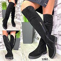 Ботфорты женские зимние замшевые черные на широкую голень без каблука, фото 1
