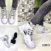 Ботинки женские демисезон кожаные белые на шнурках, фото 1