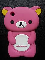"""Cиликоновый чехол """"Мишка"""" светло-розовый для Iphone 3"""