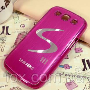 Чехол розовый для Samsung GalaxyS3 (i9300) с логотипом Галакси