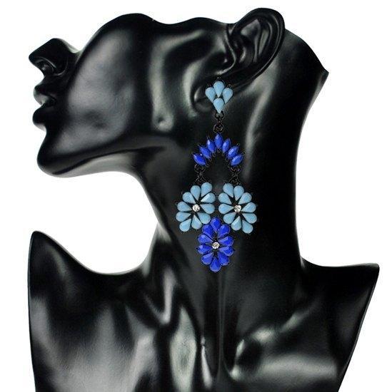 Красивые винтажные серьги с кристаллами синие Клаудия