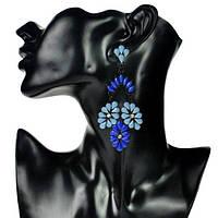 Красивые винтажные серьги с кристаллами синие Клаудия, фото 1