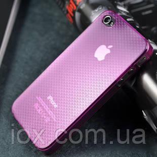 Стильный розовый пластиковый чехол для Iphone 4