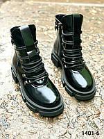 Ботинки женские зимние кожаные черный наплак, фото 1