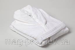 Халат махровый шаль XXL Пакистан белый, фото 2