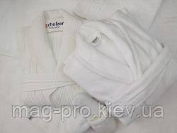 Халат махровий шаль XXL Пакистан білий, фото 3
