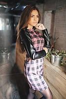 Платье женское С черно-розовой клеткой