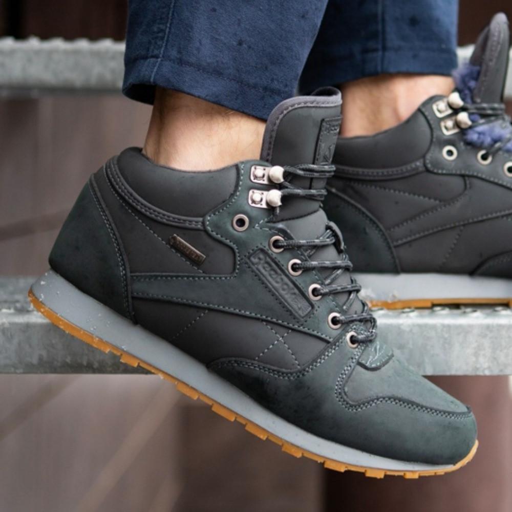 Зимние мужские кроссовки Reebok высокие синие с мехом / Размеры 40 45
