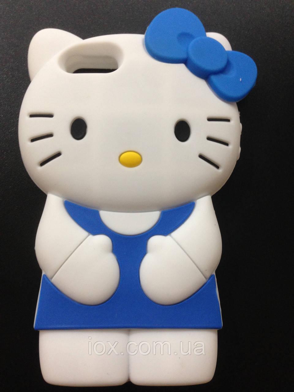 """Силиконовый чехол """"Kitty"""" синий для Iphone 5G/5GS"""