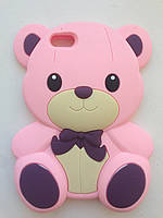 """Розовый силиконовый чехол """"Мишка"""" , фото 1"""