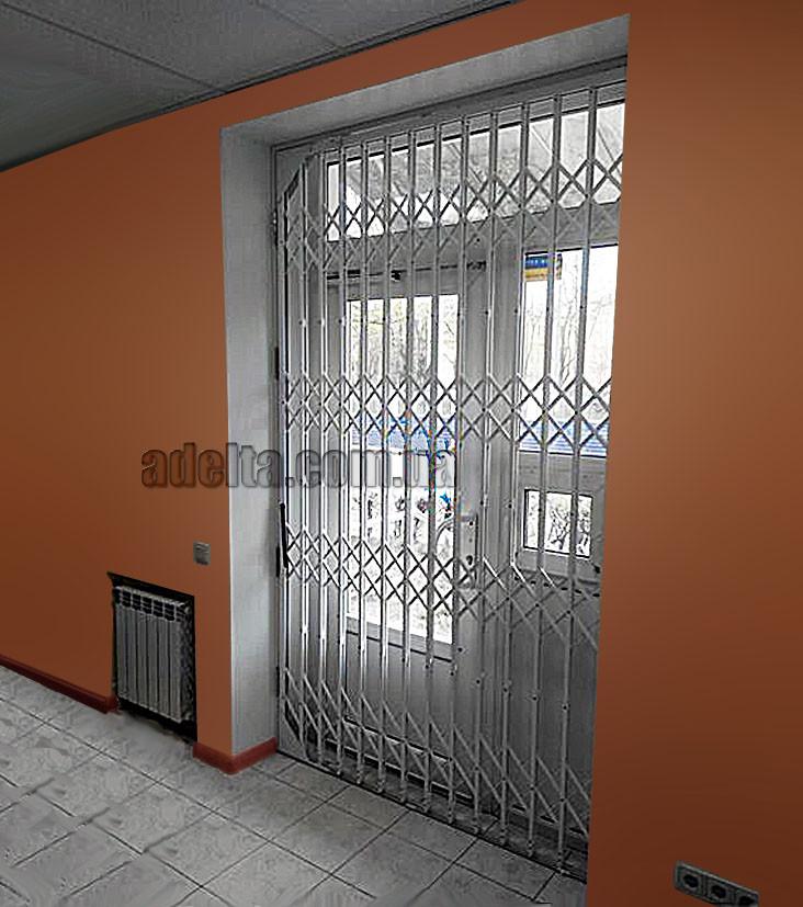 Защитная раздвижная решетка на дверь Шир.1480*Выс.2800мм для офиса