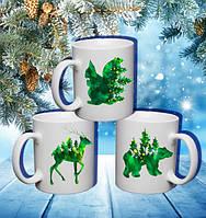 """Семейные белые чашки (кружки) с принтом """"Зеленые звери: ЭКО"""""""