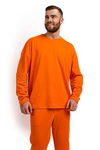 Лонгслив мужской Oversize хлопок оранжевый M-XL