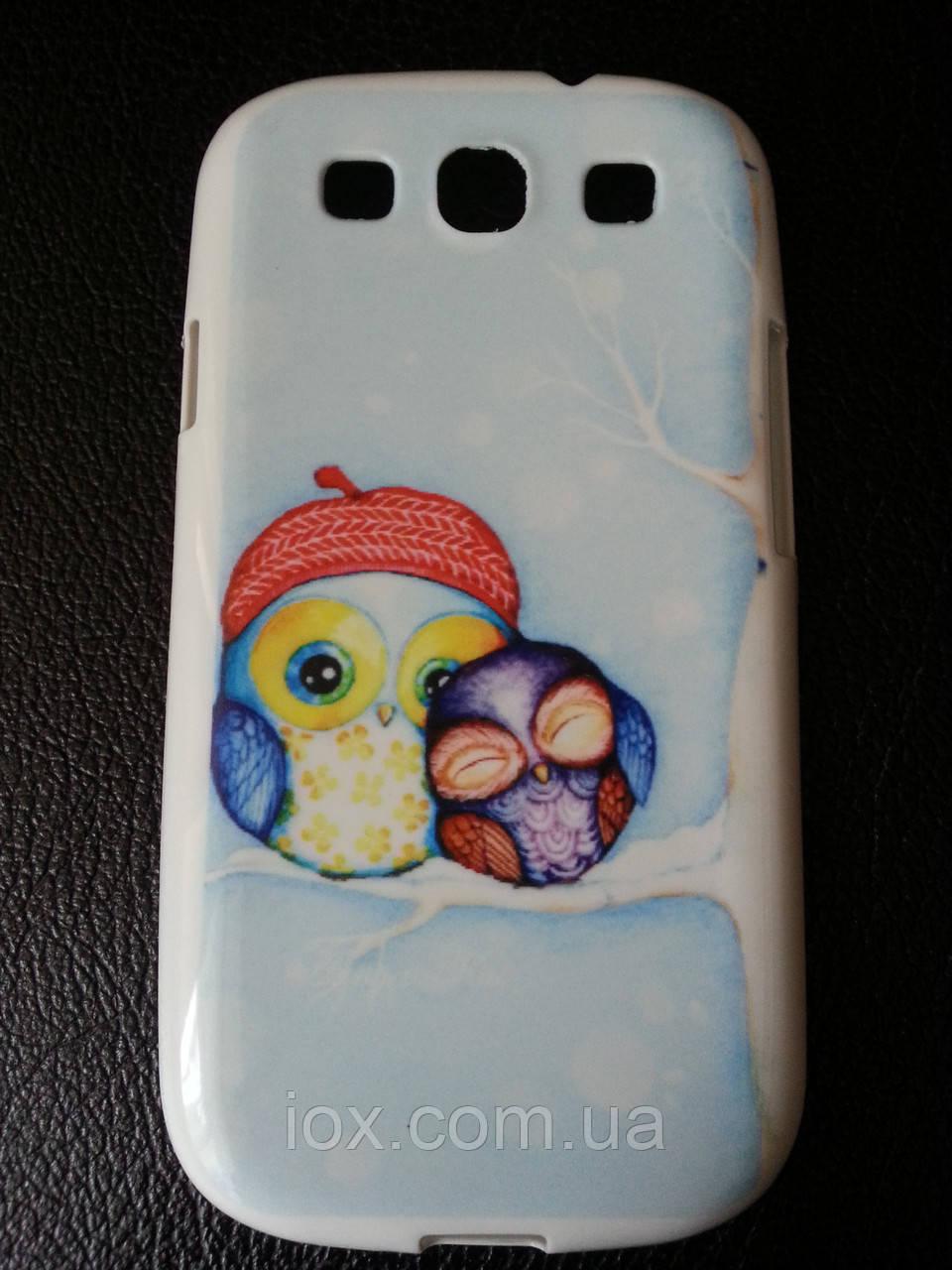 """Силиконовый чехол """"Сова с совенком"""" для Samsung Galaxy S3 и S3 duos"""