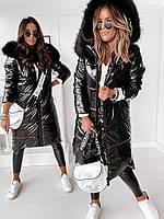 Куртка пальто женская зимняя длинная тёплая