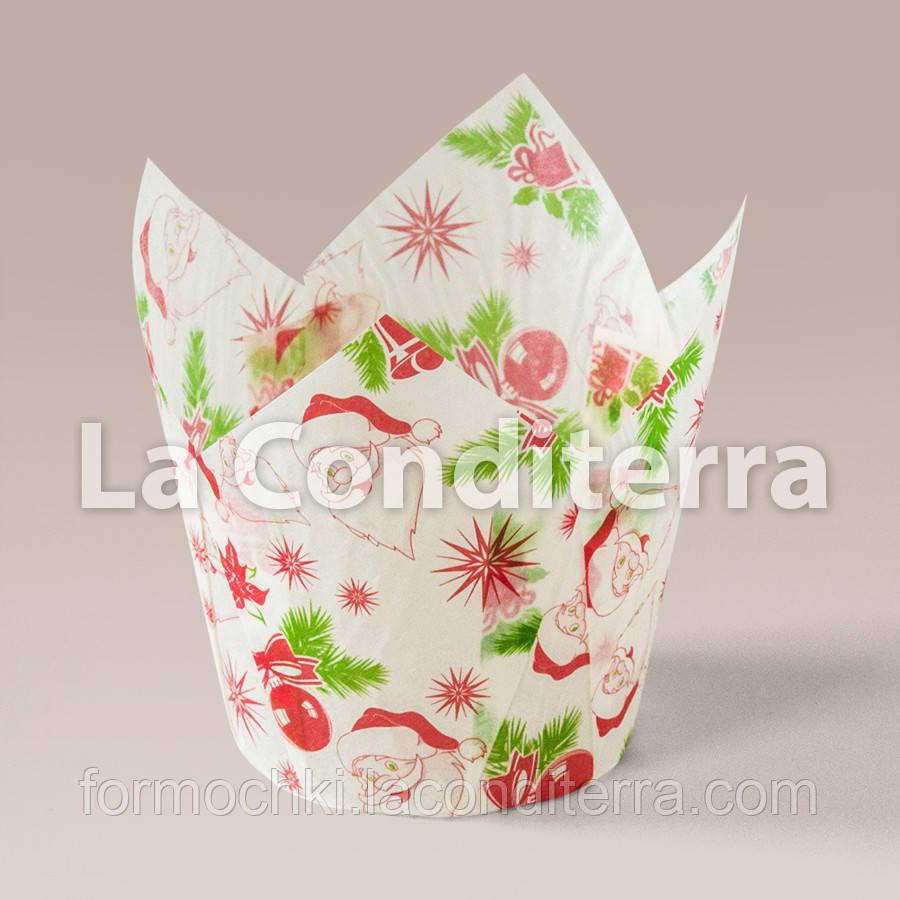 Бумажные формочки для кексов Тюльпан с рисунком Санта-Клаус (150 шт., d=35 мм, высота бортика=35/50 мм)