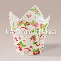 Бумажные формочки для кексов Тюльпан с рисунком Санта-Клаус (150 шт., d=35 мм, высота бортика=35/50 мм), фото 1