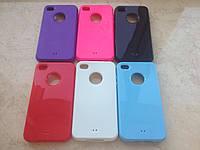 Силиконовый красный чехол для Iphone 4/4S в 6 цветах с окошком под яблоко