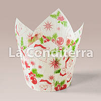 """Бумажные формочки для кексов Тюльпан с рисунком """"Санта-Клаус"""" (150 шт., d=50 мм, высота бортика=60/80 мм), фото 1"""