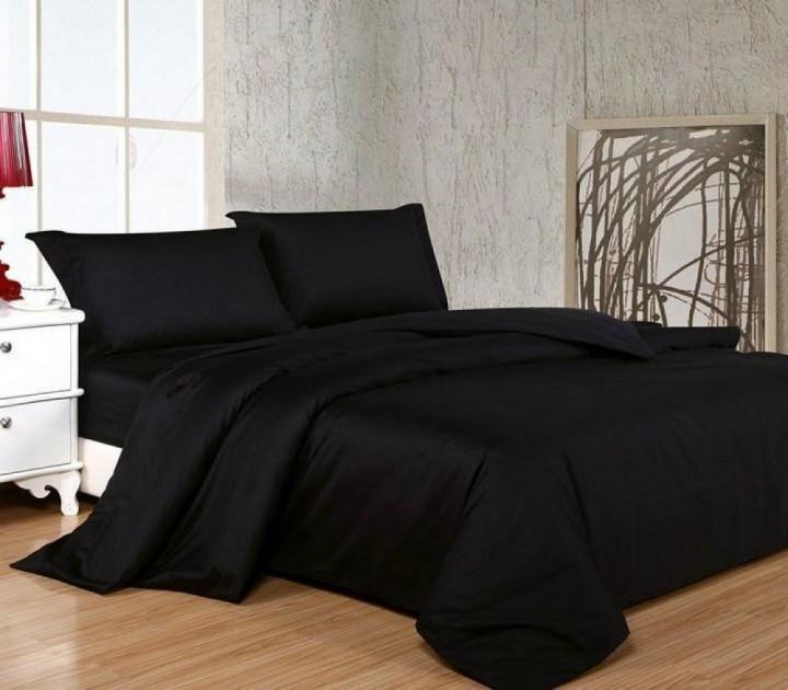 Комплект постільної білизни з Сатину BLACK (Чорний) Двоспальний