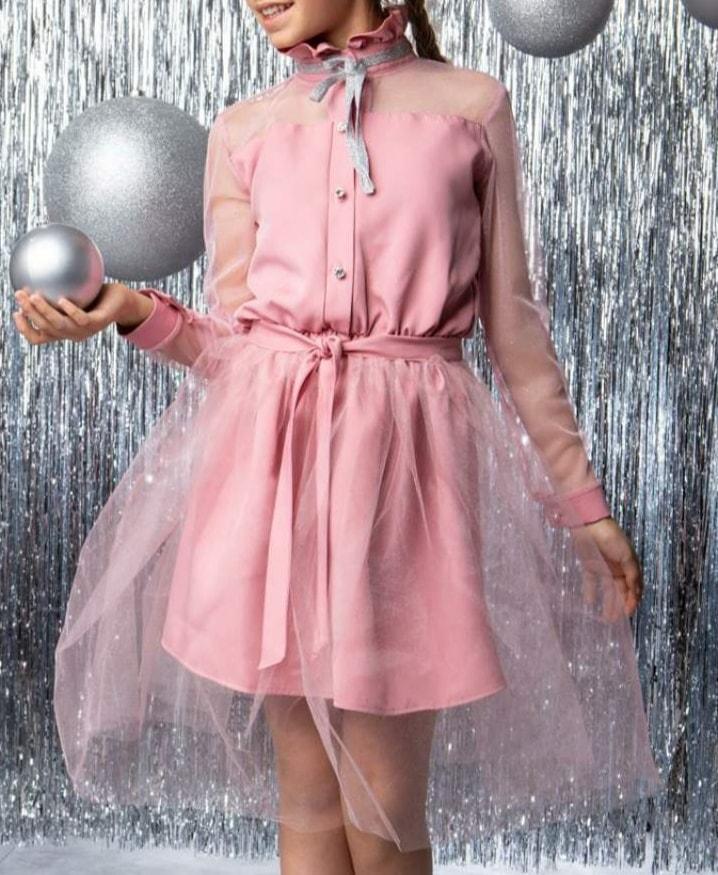 Детское нарядное элегантное платье со съёмной фатиновой юбкой Пудра размер 146
